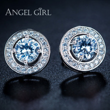 Angel Girl Round Champagne Cubic Zirconia 6mm and White Cubic Zirconia Double Halo Stud Earrings with White Gold Color EDWY1021