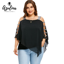 Buy AZULINA Women Blouses Plus Size 5XL Ladder Cut Overlay Blouse New Fashions Summer Square Neck 3/4 Sleeves Ladies Tops Blusas for $11.99 in AliExpress store