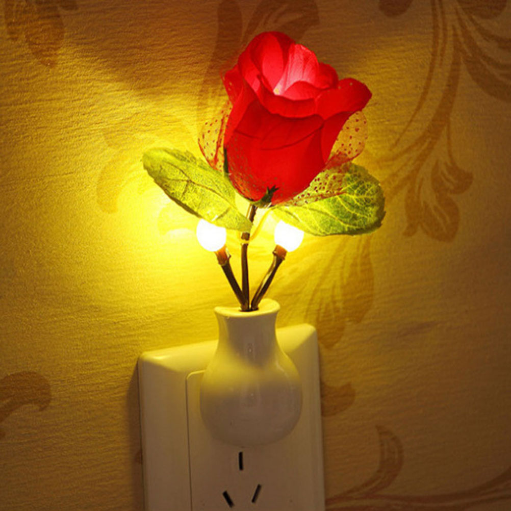 Light-Controlled LED Rose Night Light Rose Lamp Home Decoration Enegy-Saving Light For Bedroom Bathroom With US Plug(China (Mainland))