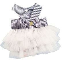 Summer Pet Dog Tulle Striped Tutu Dress Puppy Doggy Bow Wedding Party Skirt