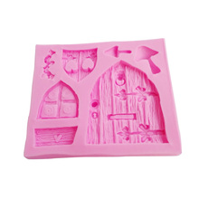 M302 Free Shipping Fairy tale cottage silicone soap mold mushroom window door fondant cake decorations Chocolate baking tool