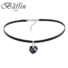 BAFFIN XILION Heart Pendant Choker Necklace Crystals From Austria Elements Rope Chain Collier For Women 2017 Vintage Jewelry(China)