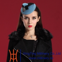 Free Shipping Fashion Elegant Women Wool Fascinator Hat  Hair Modern Blue Ladies' Hair Accessories with Special Party Fascinator
