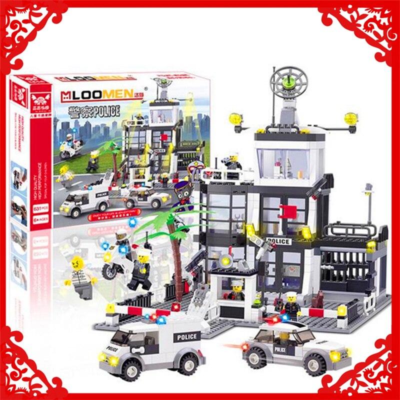 631Pcs City Police Station Headquarter Model Building Block Toys KAZI 6725 Educational Figure Gift For Children Compatible Legoe<br>