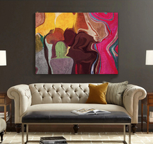 Modern abstract painting brown hand-painted watercolor rose red yellow flowing color office original canvas wall art home decor
