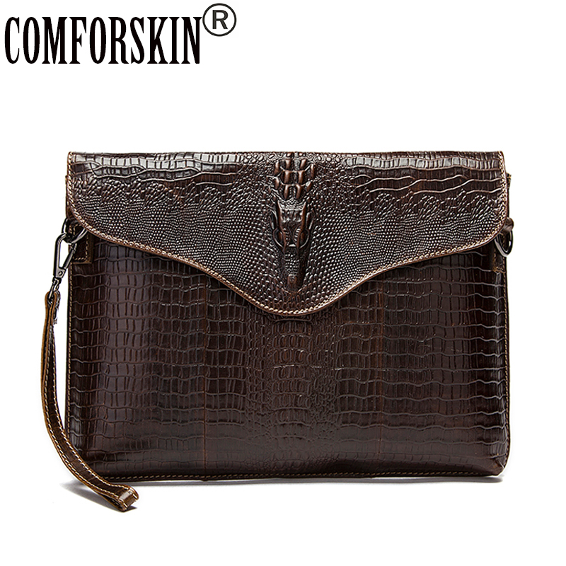 COMFORSKIN Guaranteed Luxurious 100% Cowhide Leather Crocodile Pattern Men Messenger Bag  Hot Crocodile Head Men Shoulder Bag <br>