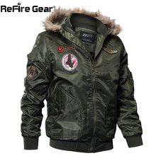 ReFire Gear Winter Military Bomber Jacket Men Air Force Army Tactical Jacket Warm Wool Liner Outerwear Parkas Hoodie Pilot Coat(China)
