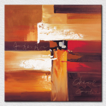 Canvas picture brown paintings beautiful abstract art red , brown , white and yellow mix color painting