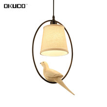 Vintage Birds pendant lights for dining room fixtures E27 socket flax fabric lampshade coffee Restaurant decorated hanging lamp(China)