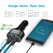 IBD Qualcomm 3.0 USB Car Charger 5V 2.4A Dual Ports Cell Phone Quick Charger For Samsung Huawei LG QC3.0 USB Charger High Speed