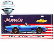 "Vintage Car Plate "" Chevrolet Corvette Stingray"" Wall Art Craft Vintage  Metal Signs for Bar Decor Beer Wall Metal Beer Sign"
