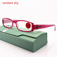 2017 New Brand Women Diopter Glasses Spectacle Frame Eyeglasses Spring Hinge Diamond Reading Glasses Eyewear Oculos+100+150+200(China)