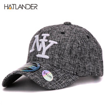 HATLANDER 2017 kids cotton linen baseball caps for boys girls outdoor sun hats NY letter adjustable casual children sports cap(China)