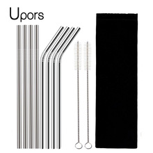 UPORS 8Pcs/Set Reusable Drinking Straw High Quality 304 Stainless Steel Metal Straw with Cleaner Brush For Mugs 20/30oz