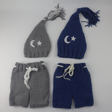 2016 Newborn photo props 0-3 month baby boy girl crochet knitting photography props star & moon Pattern beanie pants costume set