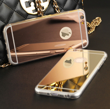 "J&R Luxury Mirror TPU Frame Case For iphone 5S 5 SE 6 6S 4.7 6S Plus 5.5"" 7 7 plus Cover Phone Bags Protective Cases"