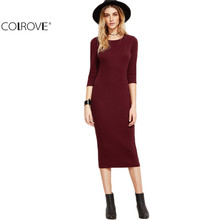 COLROVIE Burgundy Bodycon Dress Office Ladies 2017 Womens Dresses Autumn New Elegant Woman's Dress Women 3/4 Sleeve Pencil Dress(China)