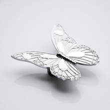 Modern Silver Butterfly Knob Box Furniture Chest Drawer Pull Handle wardrobe cabinet furniture hardware accessories(China)