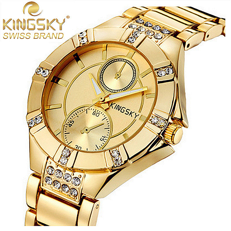 KINGSKY Fashion Luxury Brand Watch Women Dress Diamond Gold Men Watch Alloy Quartz Sport Wrist Watches Relojes Relogio Feminino<br><br>Aliexpress