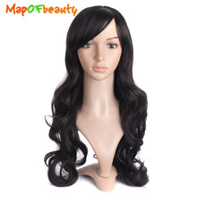 "MapofBeauty 28"" Long Wavy Hair wigs for women Heat Resistant Cosplay Wig Party Light Dark Brown Black Synthetic Hair Peruca(China)"