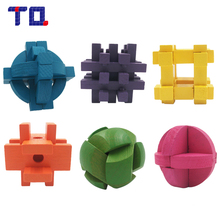 TQ Brand Mini Multicolor LubanLock Wooden Toys Adults Puzzle Kong Ming Lock Handmade Game Gift(China)
