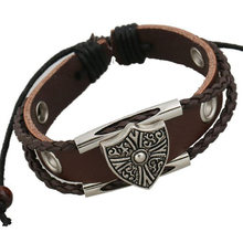 Antique Silver Plated Shield Studded Bracelets Genuine Leather Woven Charm Women Bracelet Vintage Hand Cuff Jewelry Dropshiping