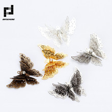 Silver/Gold Color Three Layer Butterfly Charm Necklaces Pendant for Bracelet Necklace Jewelry Accessories Making Handmade DIY