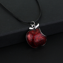 Once Upon a Time One Bite Red Poison Apple Pendants Necklace Charm Necklace Leather Rope Chain Women Accesorios Mujer