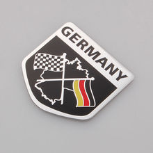 BBQ@FUKA Auto Car Matel 3D Chequered Germany Flag Truck Badge Emblem Decal Fender Sticker(China)