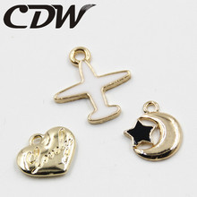New Arrived Alloy drop oil Asian Gold Plated Tone Cartoon Aircraft/Airplane Shape Jewelry Charms Diy Necklace/Hair accessory(China)