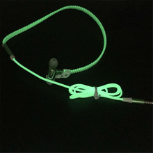 Fashion Design Metal Zipper Luminous Earphone Glowing Stereo Audio Headset With Mic Night Lighting Sport Headphone For All Phone