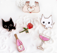 Fashion cute mini Enamel oil Cartoon cat flower Metal Brooch Pins Button Pins Girl Jeans Bag Decoration collar brooch(China)