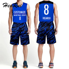 2017 New Men Basketball Jerseys Set Camouflage Sport Training Basketball Suits DIY Customized Team Uniforms Kits Shirt+Shorts(China)