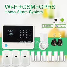 IOS/Android APP remote control smart power socket wireless burglar alarm security system gsm gprs wifi alarm system G90B(China)