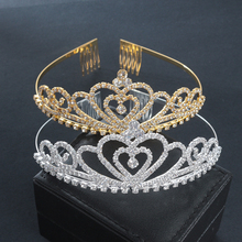 Golden Wedding Bridal Tiara Crown King Diadem Heart Queen Hair Comb Bride Rhinestone Jewelry Hair Ornaments Headdresses Women(China)