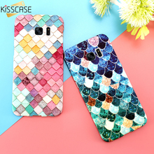 KISSCASE 3D Fish Scales Case For Samsung Galaxy S7 s6 s8 Plus Case A5 A3 2017 Cases Matte Luminous Cover For iPhone 6 6s Capa