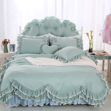 Korean ruffles Luxury Bedding Sets Twin Queen King Size 4/6/8 pcs Bedclothes 100% Cotton Brand Duvet Cover Set(China)
