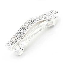 Silver Plated Crystal Rhinestone Hair Barrette Clip Wedding(China)