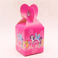 10pcs/lot my little pony print candy box theme party supplies loading gift loot bag paper box birthday party 10*8.5*18cm