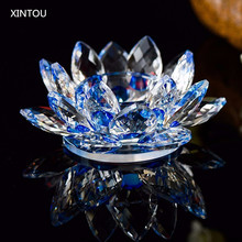 XINTOU Crystal Lotus Flower Photophore Candle Holder figurines miniatures Feng shui buddha Bowl Home Decoration accessories(China)