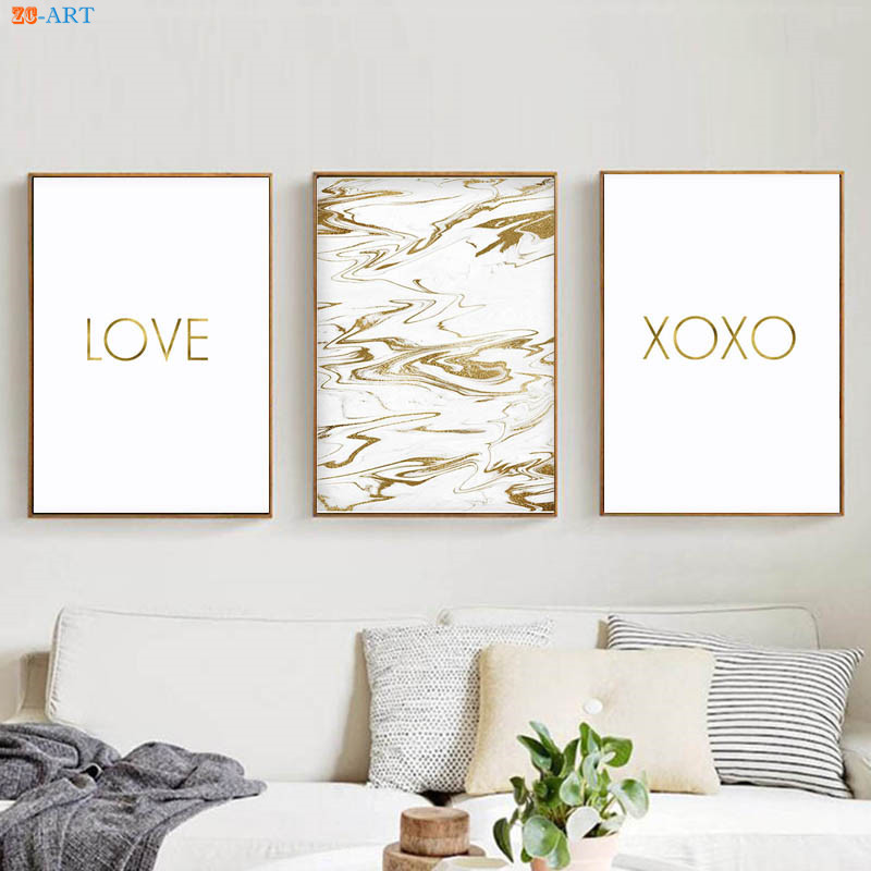 Xoxo Print Love Quotes Canvas Painting Marble Gold Wall Decor Inspiration Love Quotes On Canvas