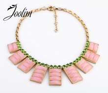 JOOLIM Jewelry Wholesale/  New Neon Pink Yellow Square Statement Chokers Necklace Party Necklace Design Jewelry