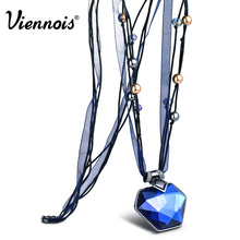 Viennois Ribbon Long Pendant Necklaces for Women Blue/Orange Crystal Pendants Necklaces Female Fashion Jewelry(China)