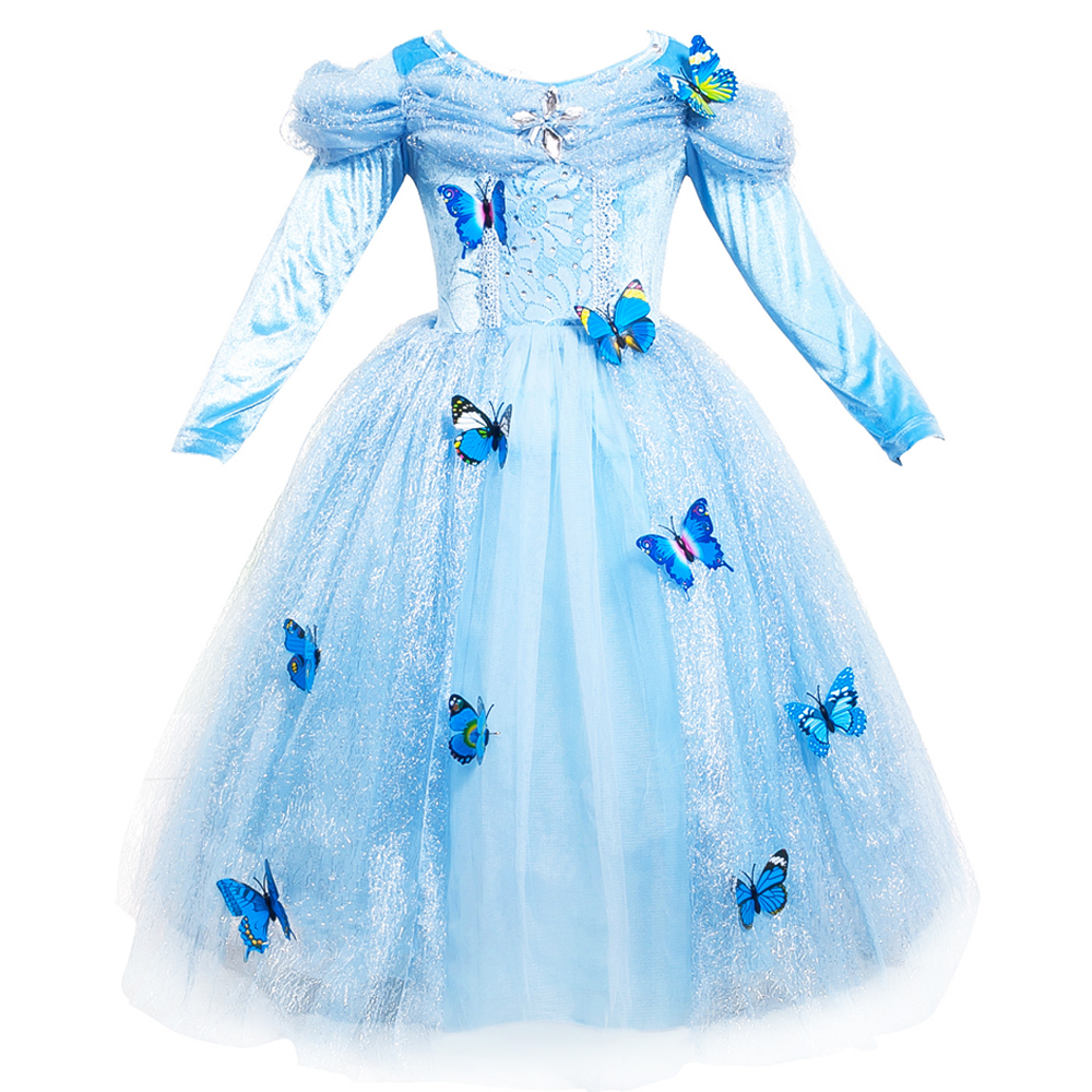 New Winter Baby Girl Cinderella Princess Dresses with Long Sleeve Children Girls Christmas Lace Dress Kids Party Cosplay Costume<br><br>Aliexpress