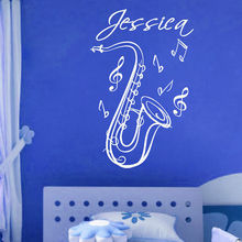 SAXOPHONE Name Music Instrument Vinyl Wall Decals Sticker Art Decor Mural 13inX24in(China)