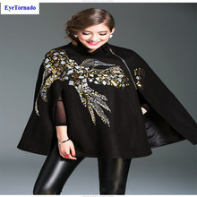 Batwing sleeve sequined beading bird cashmere cloak casual loose wool blends cape winter women poncho casaco feminino 7154(China)