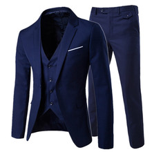 2019/men's fashion Slim 한 벌 men's business casual 옷 들러리 세-종 한 벌 블레이져 jacket pants 바지 vest sets(China)