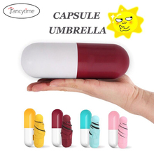 Funny Capsule Design MINI Umbrella Rain Women Small Five Folding Umbrellas Compact Sun/Rain Women's Sunshine Umbrella Sunshade(China)