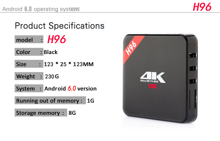 H96 Android TV Box Rockchip RK3229 Quad Core Android 6.0 1G/8G 1080P IPTV Set Top Box HDMI 2.4G WIFI 3D 4K Smart Media Player