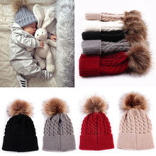 New Year Fashion Toddle Infant Newborn Winter Warmer Baby Knitted Wool Hat Kids Warm Cap Girls Knitted Hats Wool Fur Ball Caps